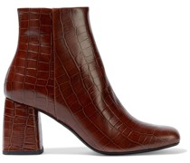 Genivieve Croc-effect Leather Ankle Boots