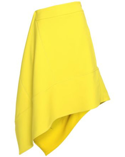 Asymmetric Wool-crepe Skirt Yellow