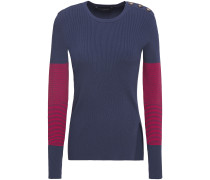 Button-detailed Striped Ribbed-knit Sweater