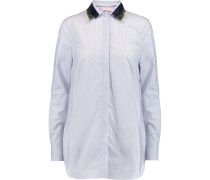 Feather-trimmed Striped Cotton-poplin Shirt Himmelblau