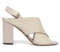 Faine Leather-trimmed Woven Jute Sandals Hellgrau