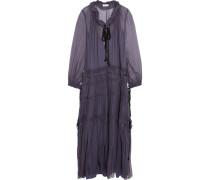 Ruffled Silk-chiffon Maxi Dress Lila