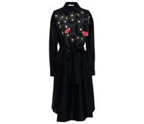 Hemdkleid in Midilänge aus Popeline aus Einer Baumwollmischung mit Applikationen