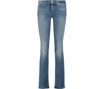 Faded Mid-rise Straight-leg Jeans Mittelblauer Denim
