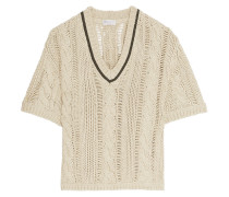 Chain-embellished Cotton-blend Cable-knit Sweater Beige
