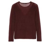 Chiffon-paneled Ribbed Cotton Sweater Burgunder