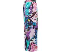 Printed Silk Crepe De Chine Wrap Maxi Skirt Mehrfarbig