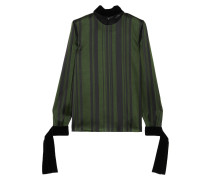 Lace And Velvet-trimmed Striped Satin Blouse