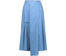 Fringed pleated wool midi skirt