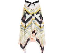 Obelisk Bow-detailed Printed Woven Skirt