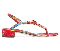 Crystal-embellished Printed Brocade Sandals Rot