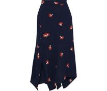 Asymmetric Floral-print Crepe Midi Skirt
