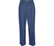 Bowie cropped denim straight-leg pants
