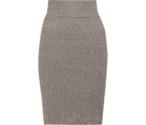 Ribbed Stretch-jersey Skirt Hellgrau