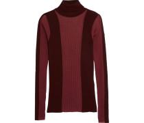 Paneled Ribbed-knit Wool-blend Turtleneck Top Burgunder