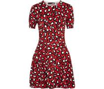 Leopard-print Cotton-blend Mini Dress Rot