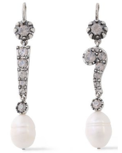 Woman Silver-tone, Crystal And Faux Pearl Earrings Silver