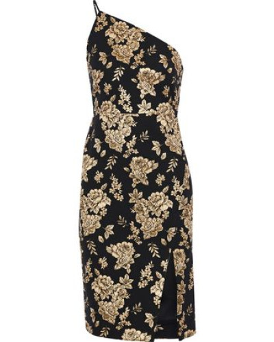 One-shoulder Metallic Floral-jacquard Dress Black
