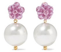 Gold-tone, Bead And Faux Pearl Earrings
