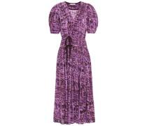 Kemala Bow-detailed Printed Cotton-gauze Midi Wrap Dress