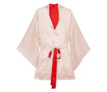 Free embroidered silk-satin robe