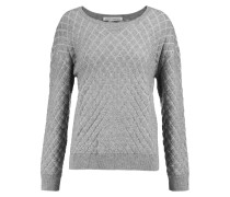 Quilted Textured-knit Sweater Grau