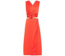 Lace-up Wrap-effect Satin-crepe Midi Dress
