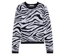 Connie Crystal-embellished Zebra-jacquard Wool-blend Sweater