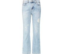 Cropped Boot Distressed Mid-rise Bootcut Jeans Heller Denim