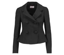 Bow-embellished Stretch-cotton Crepe Jacket Schwarz