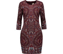 Embroidered Stretch-knit Mini Dress Burgunder