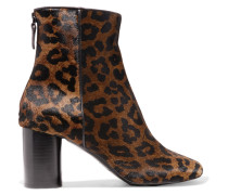 Leopard-print Calf Hair Ankle Boots Leoparden-Print