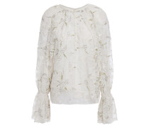 Adana Sequin-embellished Embroidered Tulle Blouse