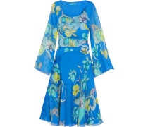 Flared Printed Silk-chiffon Dress Azurblau
