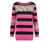 Paneled intarsia-knit sweater