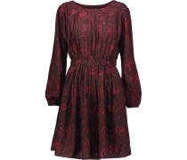 Kristen Pleated Printed Crepe Mini Dress Burgunder