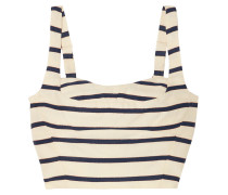 Gina Metallic Striped Cotton-canvas Bustier Top