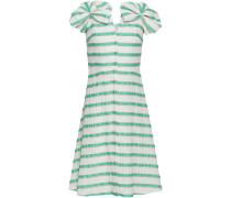 Woman Bow-embellished Striped Linen-blend Dress White