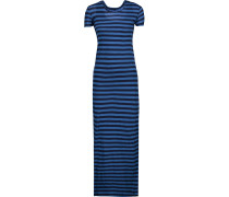 Striped Pima Cotton Maxi Dress Blau