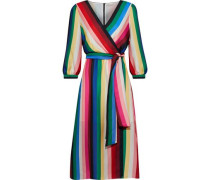 Dyanna wrap-effect striped satin dress