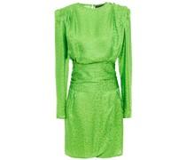 Draped Satin-jacquard Mini Dress