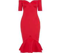 Off-the-shoulder Fluted Scuba Dress