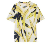 Sequin-embellished printed cotton-jersey T-shirt