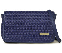Martinique Faux Leather-trimmed Basketweave Raffia Shoulder Bag