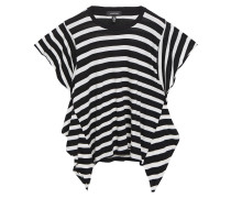 Asymmetric Striped Cotton And Cashmere-blend T-shirt