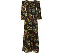 Gerafftes Strandkleid aus Baumwoll-voile mit Floralem Print