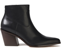 Woman Razor Leather Ankle Boots Black