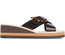 Thais Buckled Patent-leather Wedge Sandals