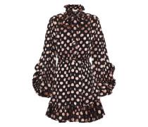 Pussy-bow Ruffle-trimmed Fil Coupé Chiffon Mini Dress Black Size 1