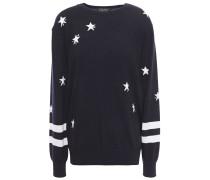Bead-embellished Intarsia Merino Wool Sweater